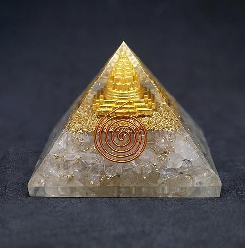 Orgone Pyramid in Clear Quartz with Sri Yantra