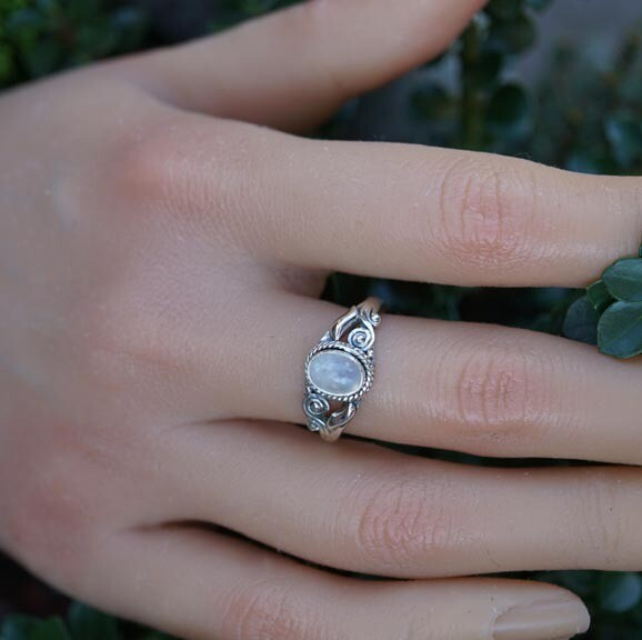 Rainbow Moonstone Ring in Sterling Silver