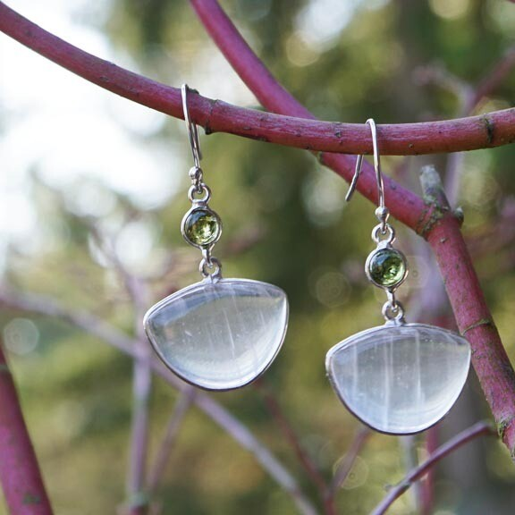 Selenite and Green Tourmaline Earrings
