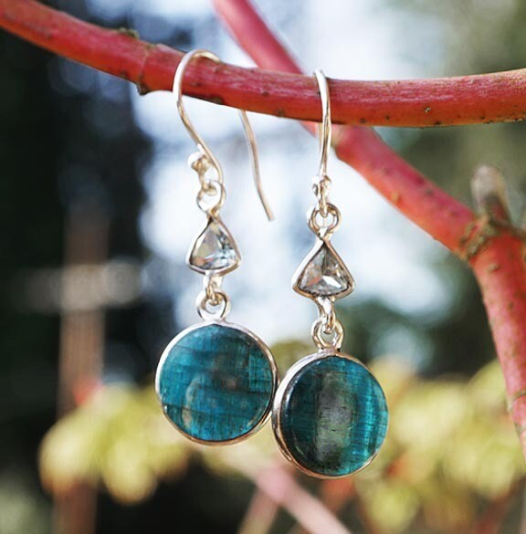 Blue Apatite Earrings- round