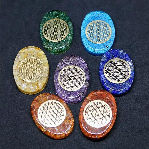 Orgone Chakra Set with Flower of Life