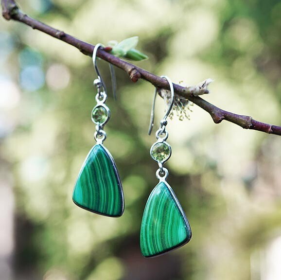 Malachite and Peridot Earrings