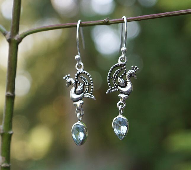 Peacock and Blue Topaz Earrings