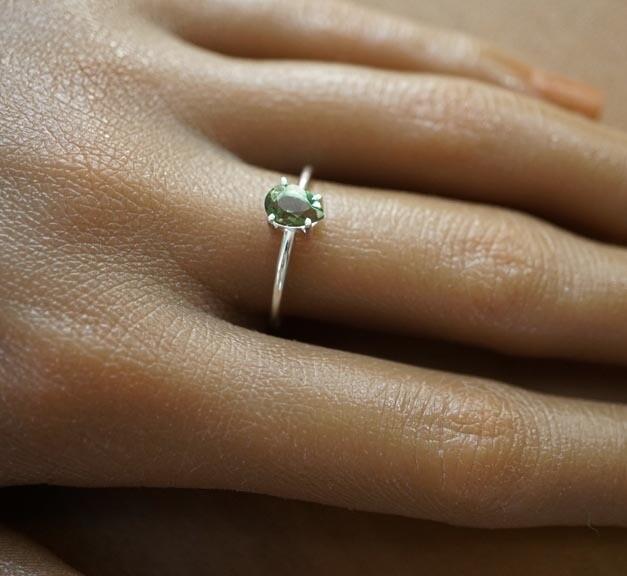 Faceted Moldavite Ring