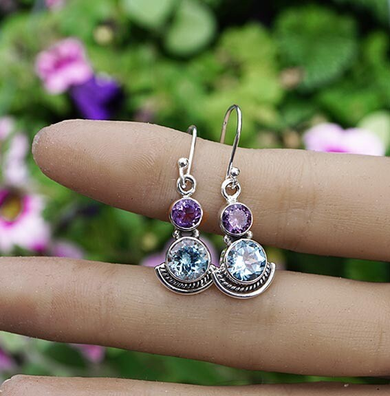 Blue Topaz with Amethyst  Earrings