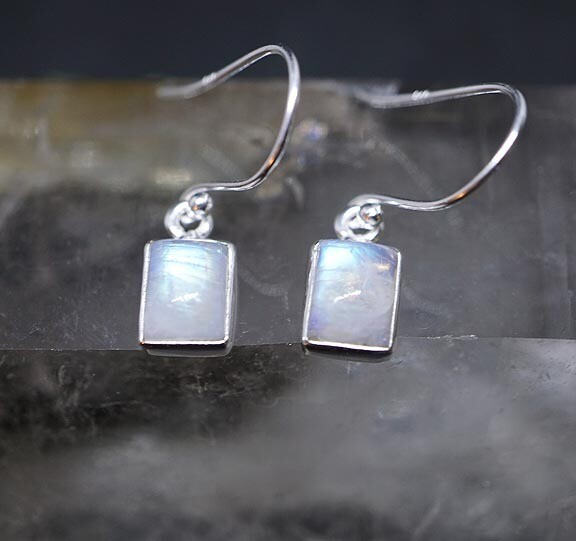 Rainbow Moonstone Earrings - rectangular