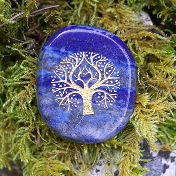Tree of Life Palm Stone in Lapis
