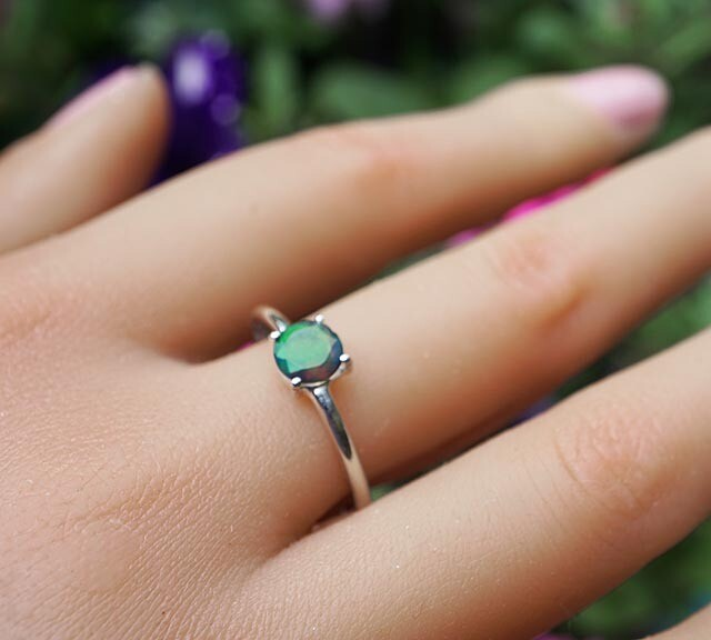 Faceted Black Opal Ring