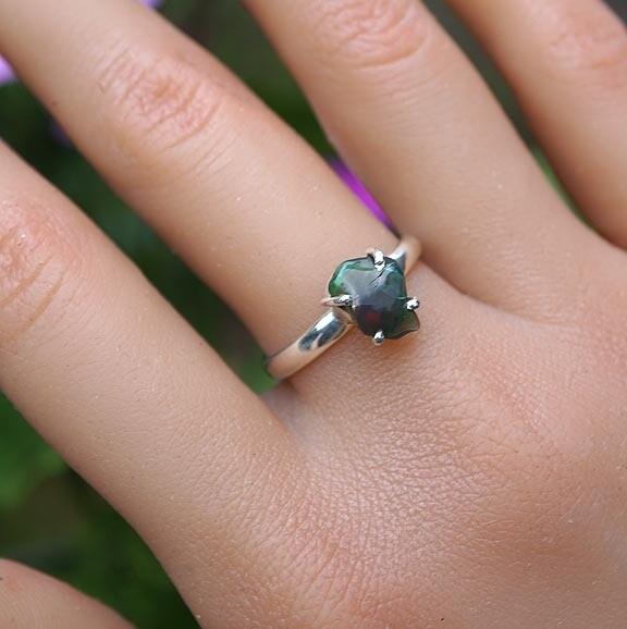 Rough Black Opal Ring