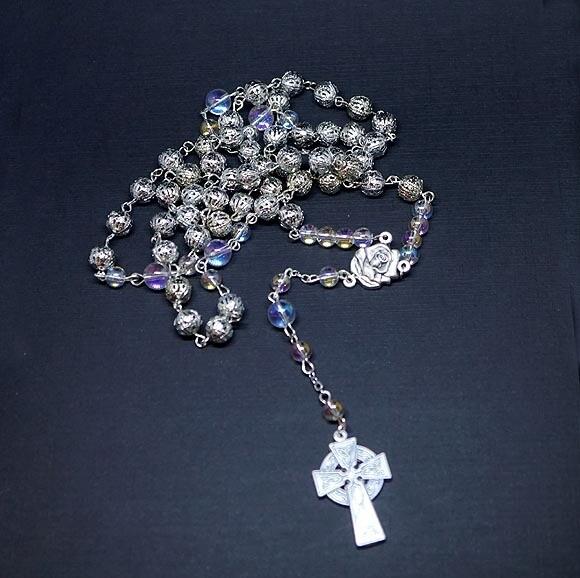 Hand Made Rosary with Angel Aura Quartz