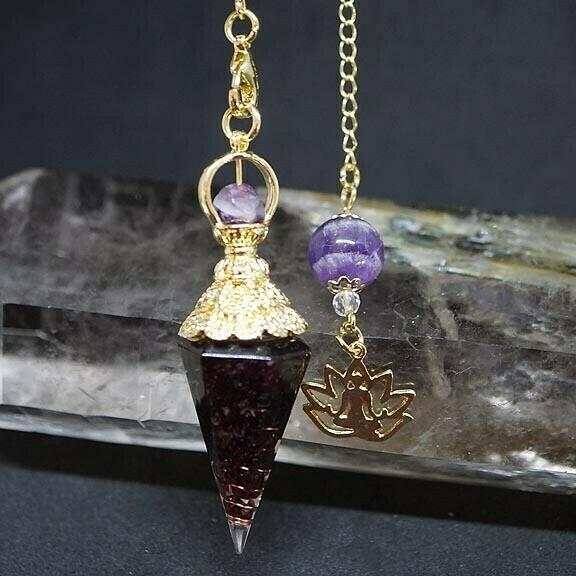 Orgone Lotus Pendulum in Garnet