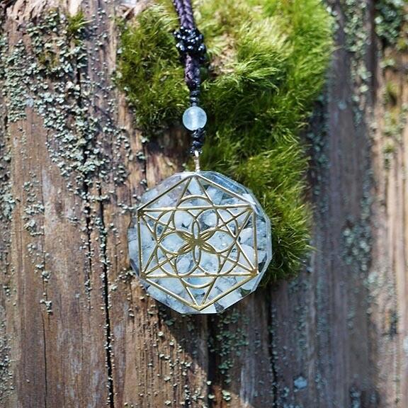 Orgone Soul Star in Aquamarine Pendant