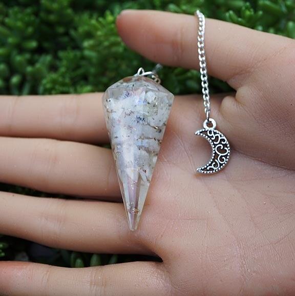 Orgone Pendulum in Rainbow Moonstone
