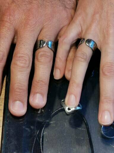 Matching hand-forged Steel engagement rings