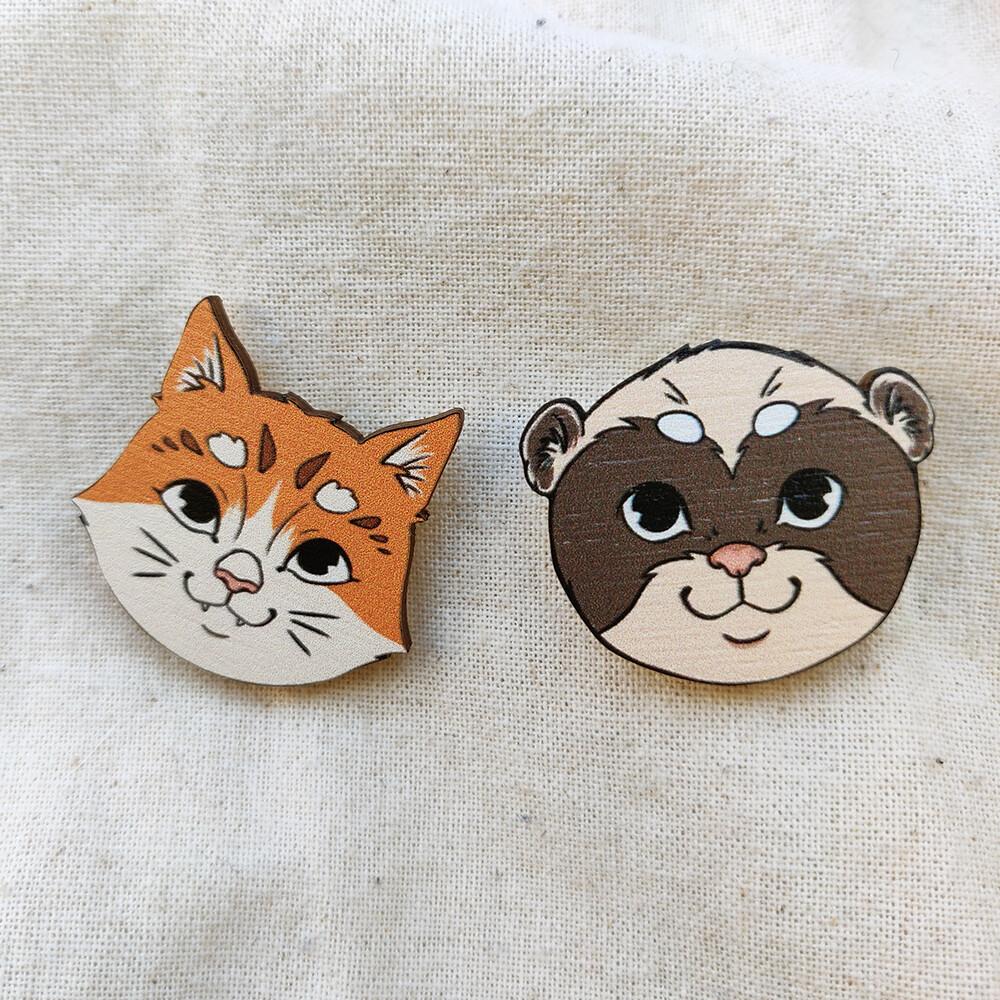 Wooden pin badge