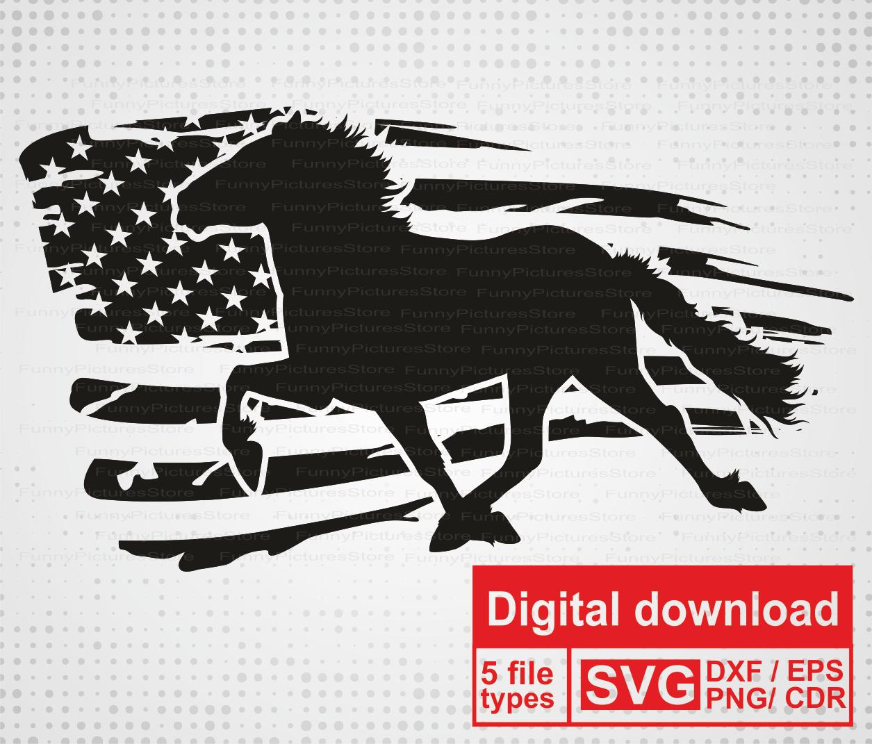 Horse Silhouette Svg Vector Distressed Flag American Flag Svg Files For Cut Print Engrav Cricut Plotter Cutting Horse Sticker Vector