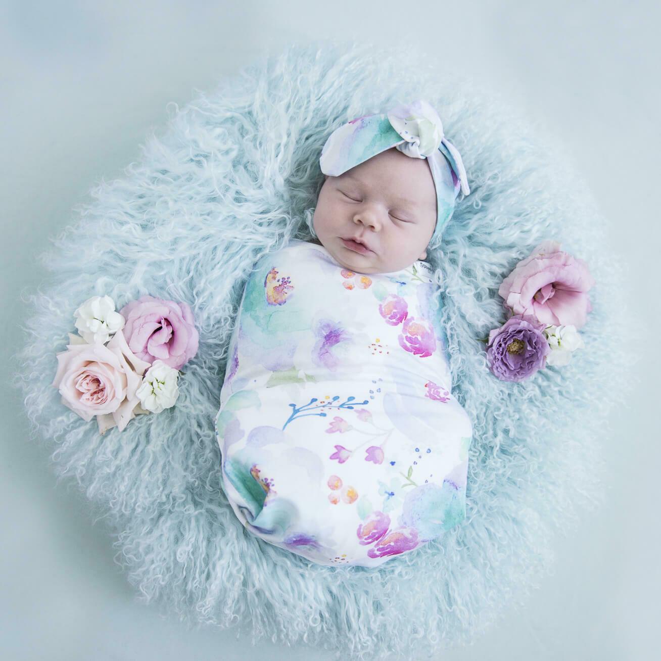 Sweet Petal Snuggle Swaddle & Topknot Set