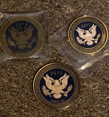 RNC Republican National Committee Life Member Enamel Coins