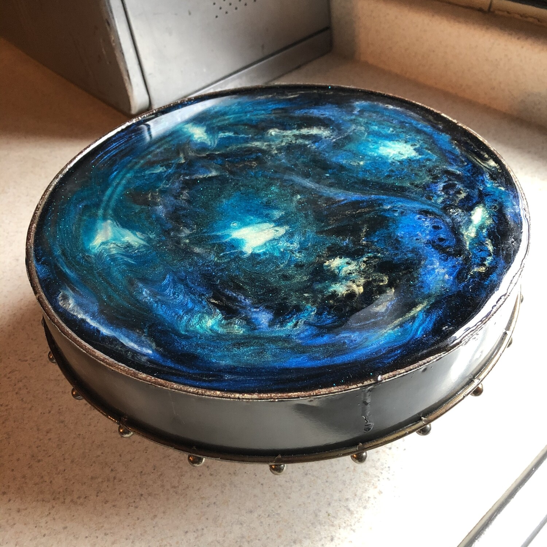 ORIGINAL ARTWORK: Blue Marble Raised Cake Plate