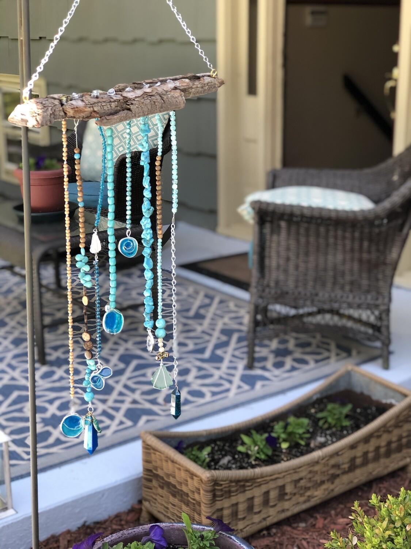 Turquoise Bejeweled Windchimes