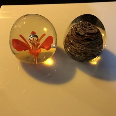 Hand Blown Glass Paperweight Set