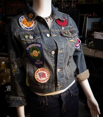 Upcycled Vintage Levi's Jacket w Patches & Pins Womens L