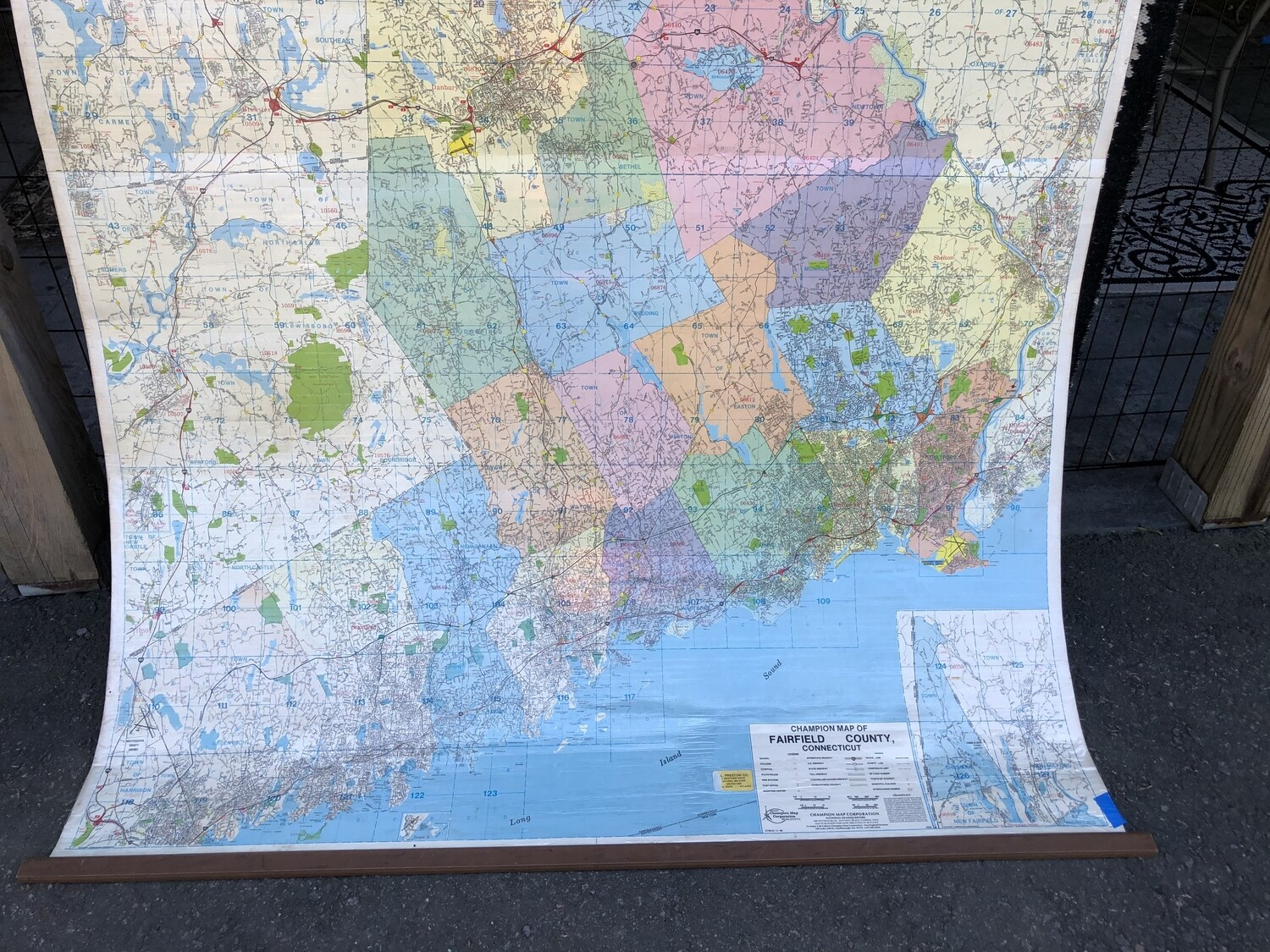 Giant 6ft x 6ft Laminated Schoolhouse Map of Fairfield County, CT