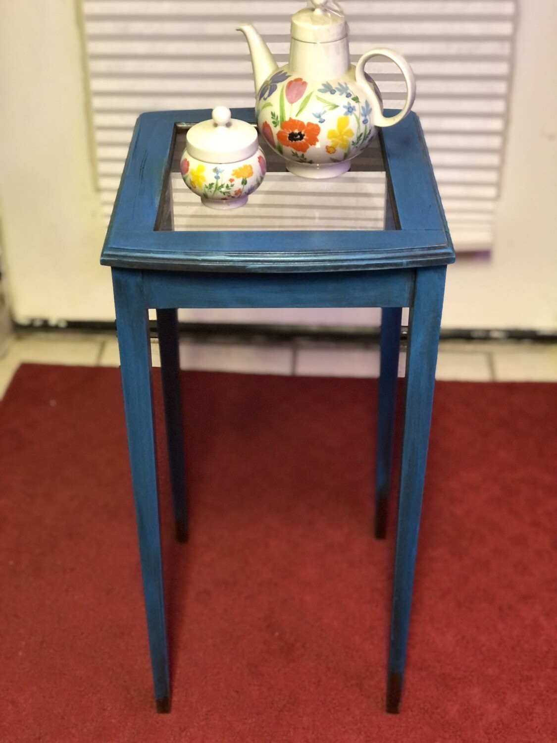 Blue Diminutive Side Table - Upcycled