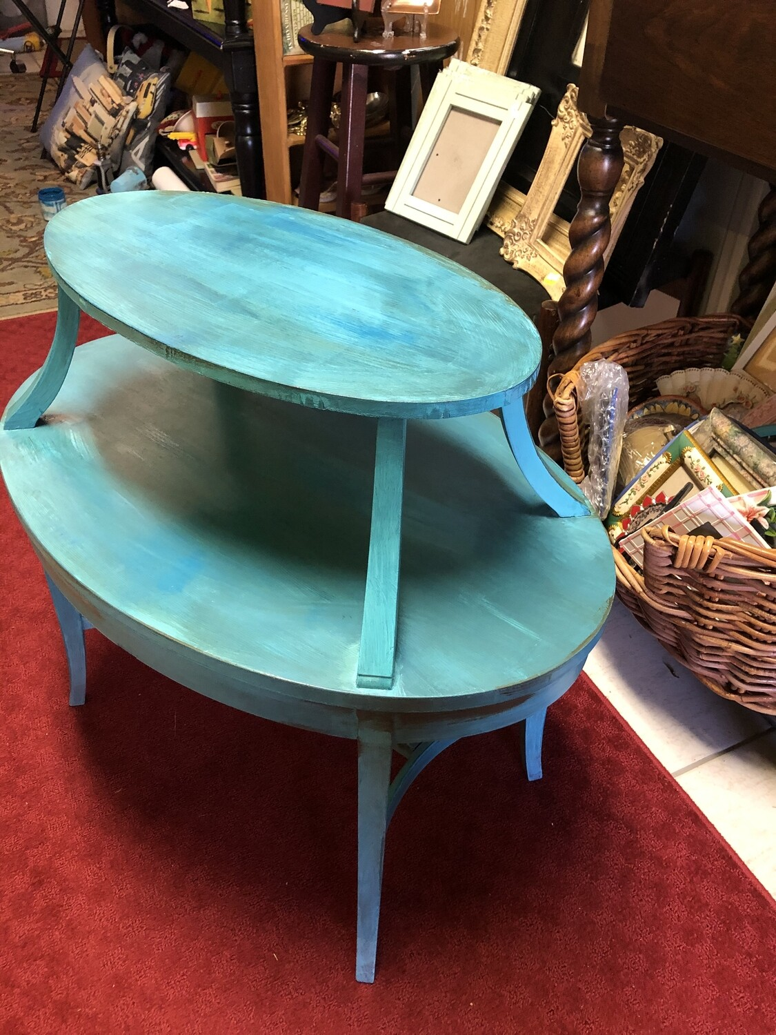 Robin's Egg Blue Distressed 2 Tier Table