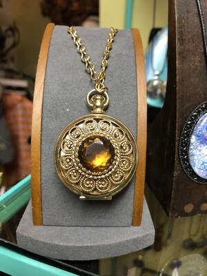 Vintage 70's Locket with Yellow Stone by Avon