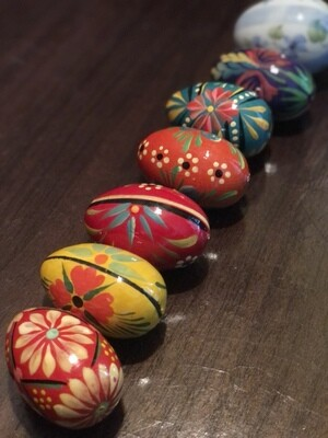 Hand-painted Wooden Eggs Lot