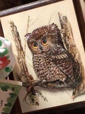 Owl Decoupage Artwork - Vintage 1970's