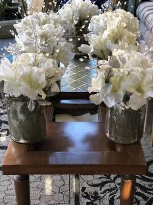 Wedding Table Silk Floral  Arrangements Event - 7 Large Silver Vases
