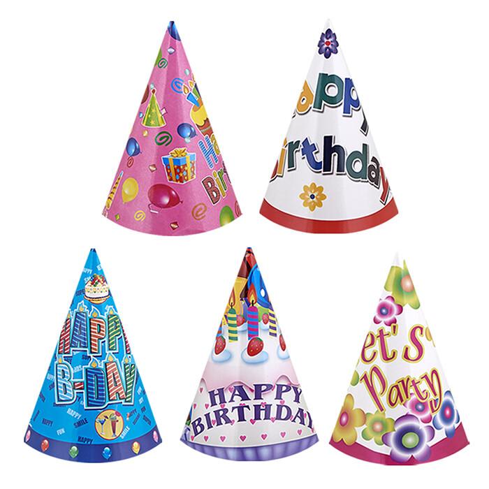 Καπέλο γενεθλίων 20εκ σε διάφορα σχέδια, 6τμχ