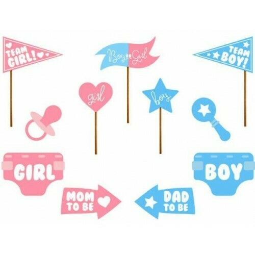 Photo booth props για baby reveal