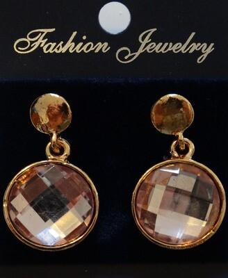Σκουλαρίκια με ροζ πέτρα