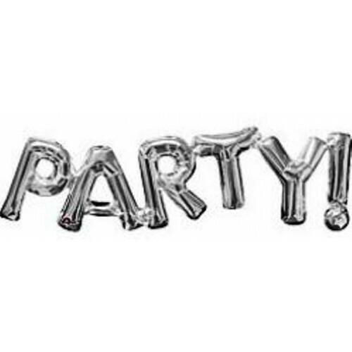 Μπαλόνι foil Anagram οριζόντια λέξη PARTY air filled, με βαλβίδα αντίστασης,  ασημί