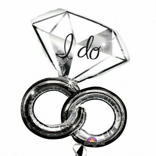 Μπαλόνι foil Anagram supershape βέρα και μονόπετρο δακτυλίδι για πρόταση γάμου, διακόσμηση γάμου, bachelor party κλπ 30'' X 27'' 76CM X 69CM