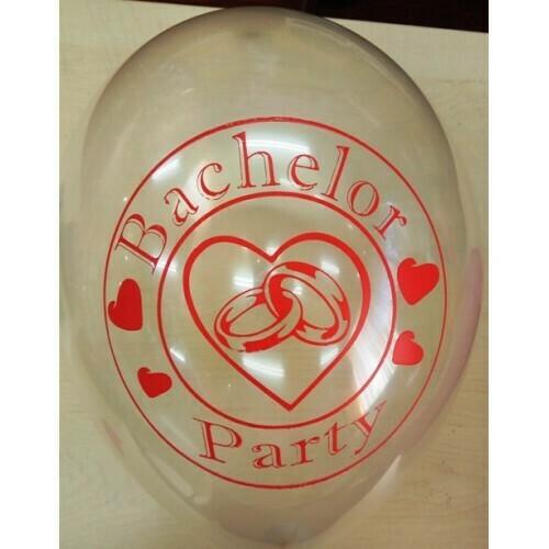 Μπαλόνια latex τυπωμένα BACHELOR PARTY ΜΕ ΒΕΡΕΣ ΔΙΑΦΑΝΕΣ 12'' 30cm , διάφορα χρώματα