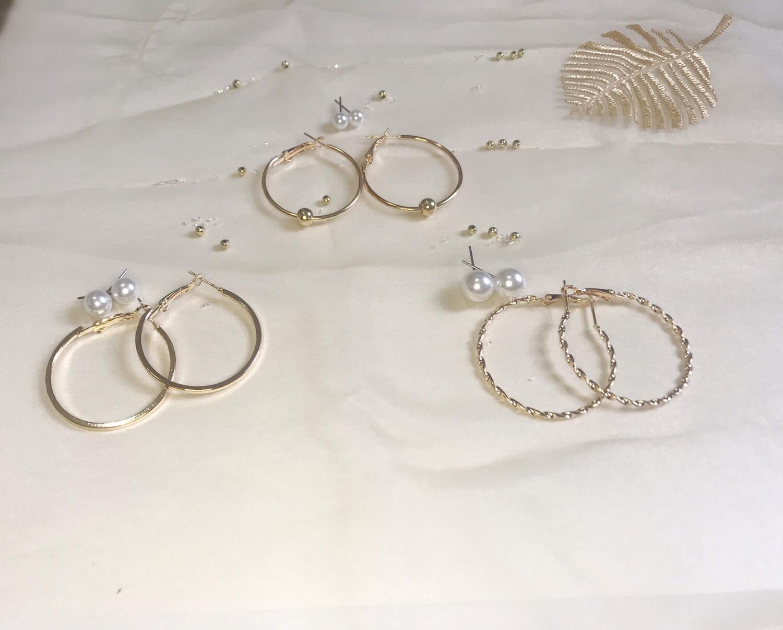 Σετ σκουλαρίκια κρίκοι και πέρλες 6 ζευγάρια