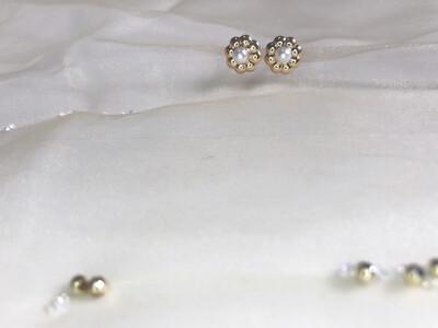 Πλαστικά σκουλαρίκια λουλούδι με πέρλα