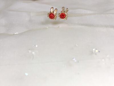 Πλαστικά σκουλαρίκια σε σχήμα κουνελάκι με στρας