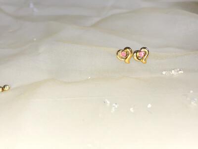 Πλαστικά σκουλαρίκια καρδιά με στρας