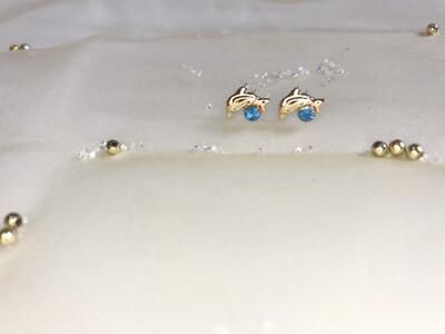 Πλαστικά σκουλαρίκια δελφίνι με στρας