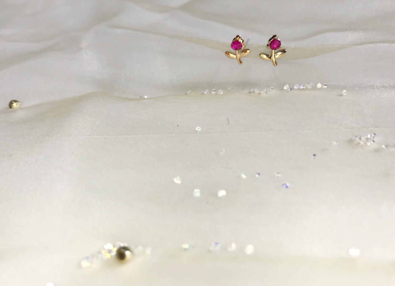 Πλαστικά σκουλαρίκια τριαντάφυλλο με στρας