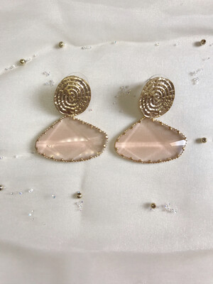 Σκουλαρίκια χρυσά με ημιδιαφανή πέτρα