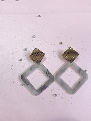 Σκουλαρίκια με εφέ γρανίτη γκρι