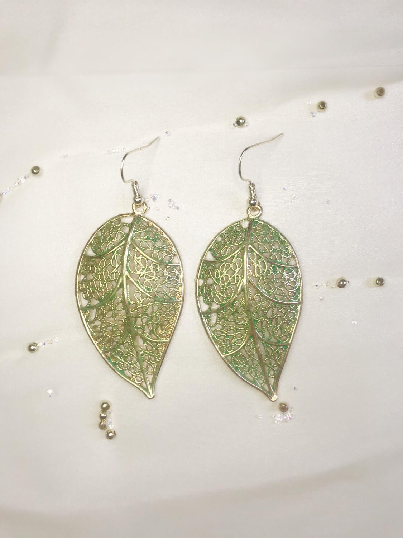 Σκουλαρίκια φύλλο χρυσό-πράσινο