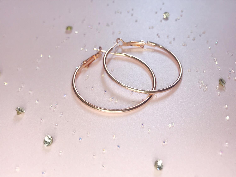Κρίκοι ροζ-χρυσό μεσαίο μέγεθος