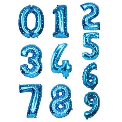Μπαλόνι 40 εκ μπλε αστέρια Αριθμός